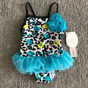 Baby Girl Leopard Print Swimsuit with Tutu
